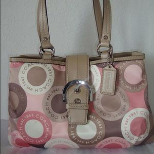 Pink, Tan, Brown Coach Purse
